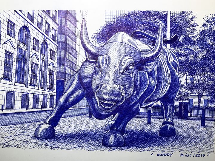Wall street Bull - Man in blue artist