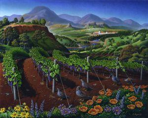 Quail Strolling Along The Vineyard - Walt Curlee Fine Art & Prints