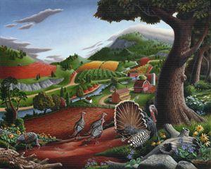 Wild Turkeys Country Landscape - Walt Curlee Fine Art & Prints