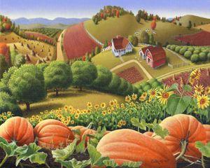 Fall Pumpkin Patch Farm Landscape - Walt Curlee Fine Art & Prints