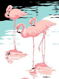 Pink Flamingos Pop Art - Walt Curlee Fine Art & Prints