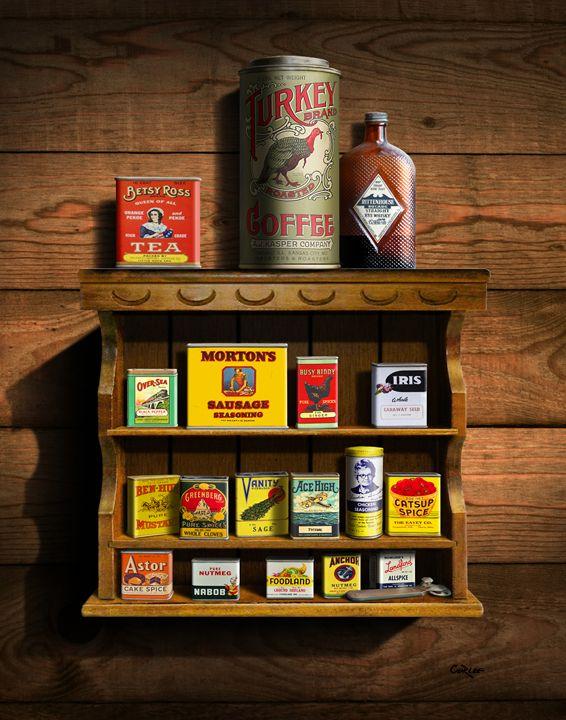 Vintage Spice Tins 2 Stilllife Art - Walt Curlee Fine Art & Prints