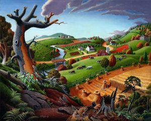 Wheat Field Harvest Farm Landscape - Walt Curlee Fine Art & Prints