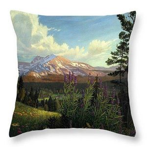 Rocky Mountaian Meadow Throw Pillow