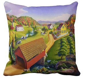 Red Covered Bridge Throw Pillow