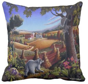 Raccoon Squirrel Farm Throw Pillow