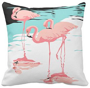 Three Pink Flamingos Throw Pillow