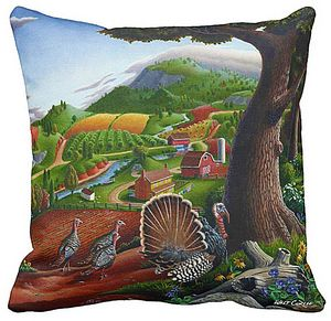 Turkeys In The Hills Throw Pillow