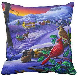 Small Town Winter Throw Pillow