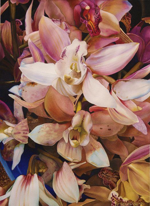 Orchids-Watercolor 55 x 75 cm- - Robert C. Murray II