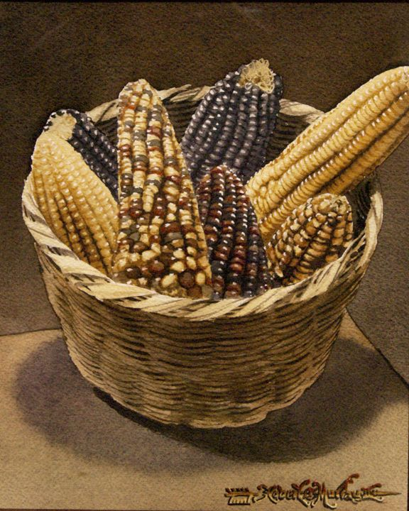 Wild Corn in a basket-19 x 24 cm - Robert C. Murray II