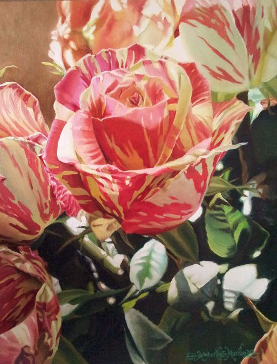 Striped Roses-29 x 36 cm oil - Robert C. Murray II