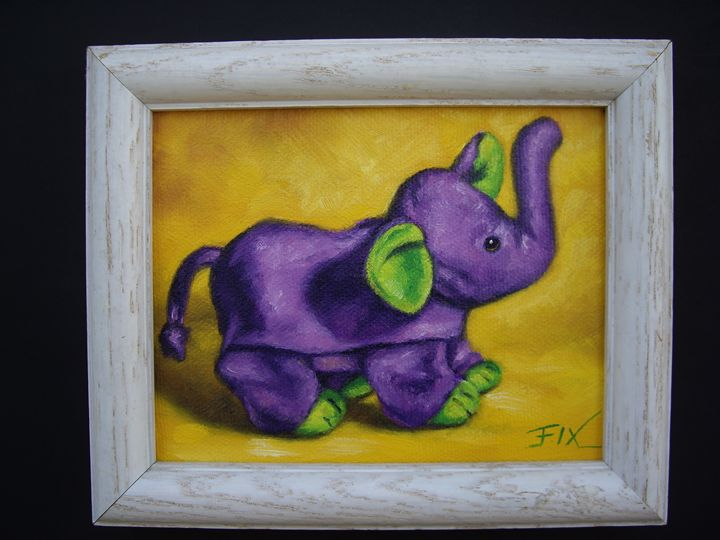 Purple elephant on yellow background - claire fix fine art