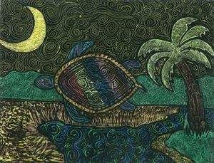 Turtle, Palm & Moon