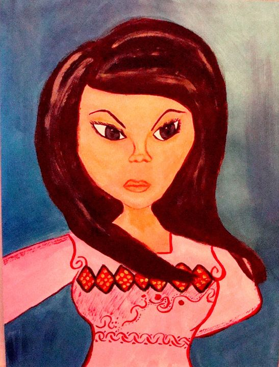 Afghan Girl mixed in two cultures - AfghanArtist