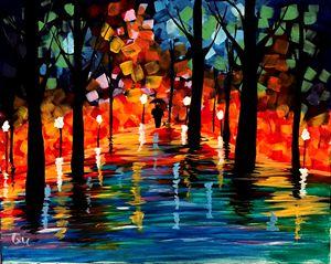 Vibrant trees Acrylic 16x12 Painting