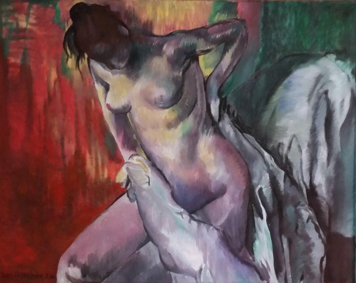 Degas. Woman Drying Herself. Homage - Fineartcopy.net