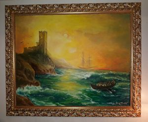 Stormy seas Italy- WIDE PAINTING