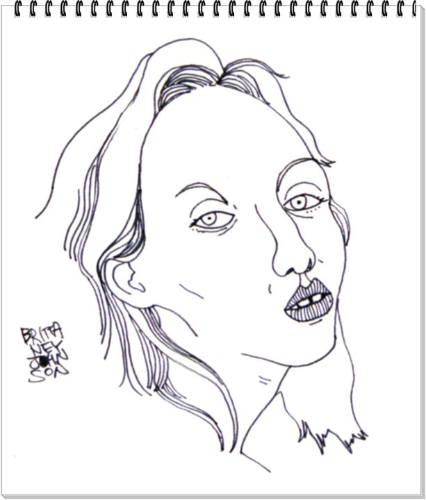 Woman drawing - drawing by mia