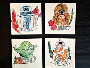 Star wars watercolour coasters