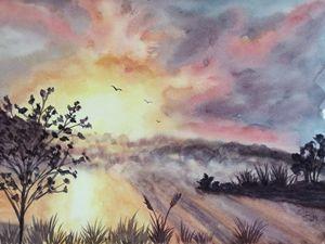 Foggy Lake Sunset
