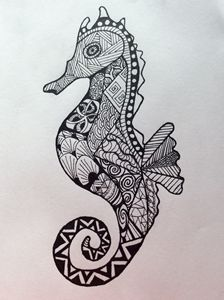 Zen tangle sea horse