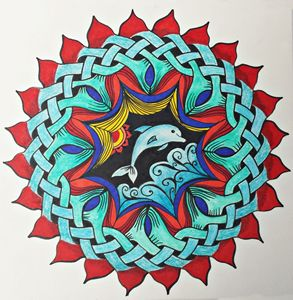 Colorful Mandala Celtic Knot Dolphin