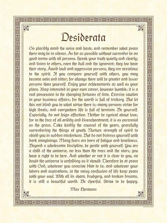 Desiderata - Digital Crafts