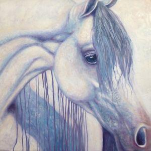 White Arabian Horse Impressionist Ar