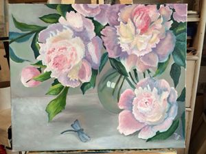 Peonies and dragonfly