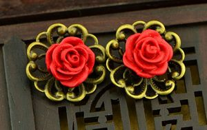 Copper Earrings with Red Fower