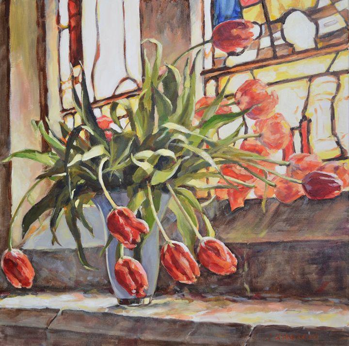 TULIPS ON THE CHURCH WINDOWSILL - Irina Ushakova