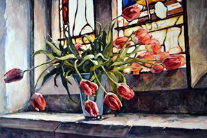 Tulips on the church windowsill. - Irina Ushakova