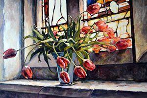 Tulips on the church windowsill. - Irina Ushakova