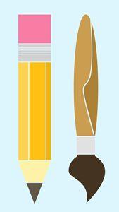 Minimalist Pencil and Brush