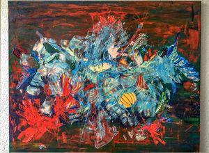 """""""Flier"""", Tilarids / oil, 100×80"""
