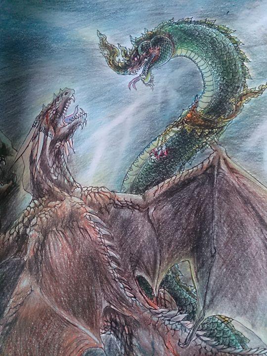 Naga & Dragon fighting - Maha-ma