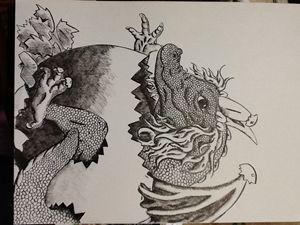 Baby dragon hatching