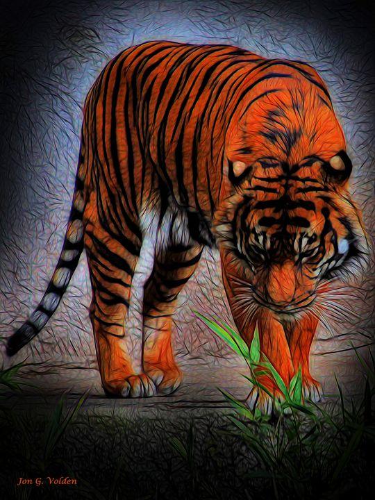 Impression Of A Curious Tiger - DunJon Fantasy Art