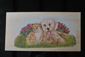 Picture of a dog and a cat on wood