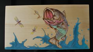 Wood burned picture of a bass fish