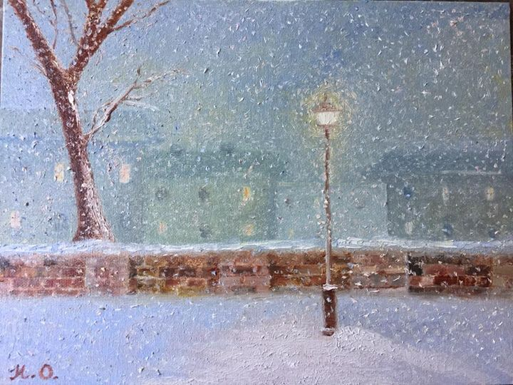 The snowfall in the city, (2017) - Nataliia's Art Gallery