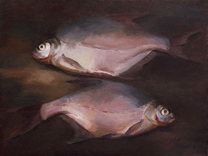 Two Fish on the Shore - Attila Meszlenyi
