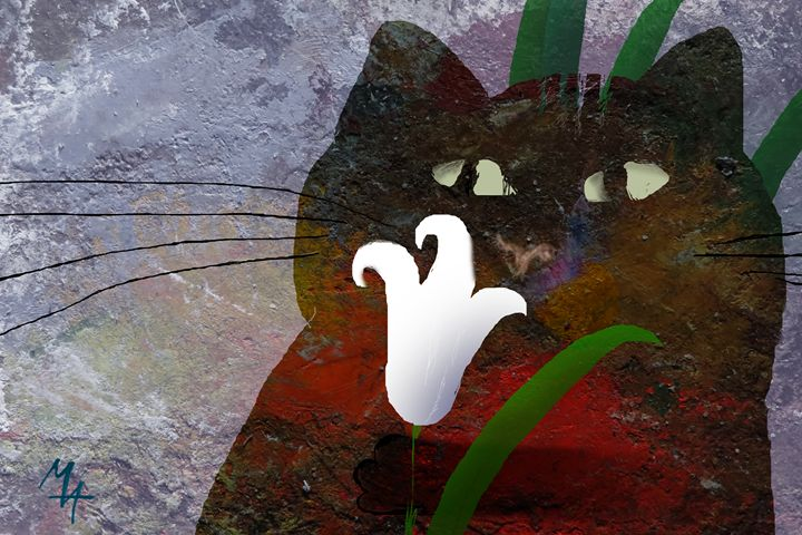 Cat with Lily - Attila Meszlenyi