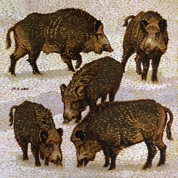 Five Wild Boars - Attila Meszlenyi