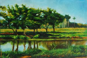 Cuban country landscape with river