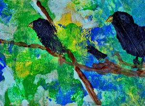 crows in trees art postcard