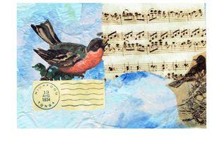 singing birds art postcard