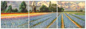 Spring Flowers Fields Triptych