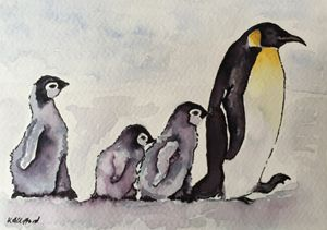 Mother with baby penguins